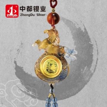 上海造币厂 琉璃车挂件 招财进宝 (金币)