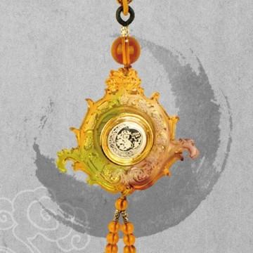 上海造币厂古法琉璃车挂系列 三星高照之寿比南山(银)