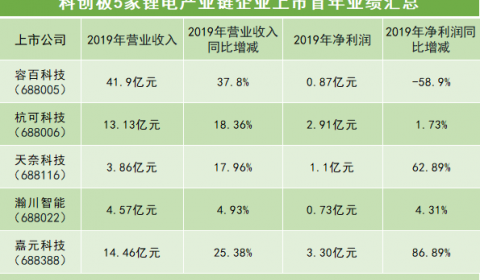 科创板5家锂电公司上市首年业绩交卷!4家营收与净利双增长