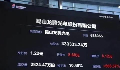 仅一条5代LCD产线市值超天马、是维信诺2倍多!龙腾光电市值一度超500亿
