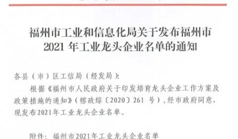 兆元光电获评2021年福州市工业龙头企业